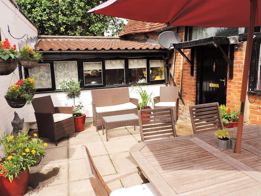 Comfortable outside seating