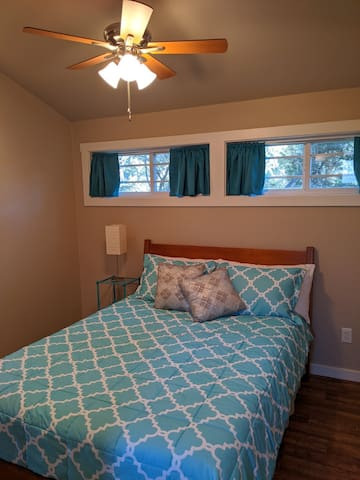Another view of the bedroom. Queen size memory foam bed.