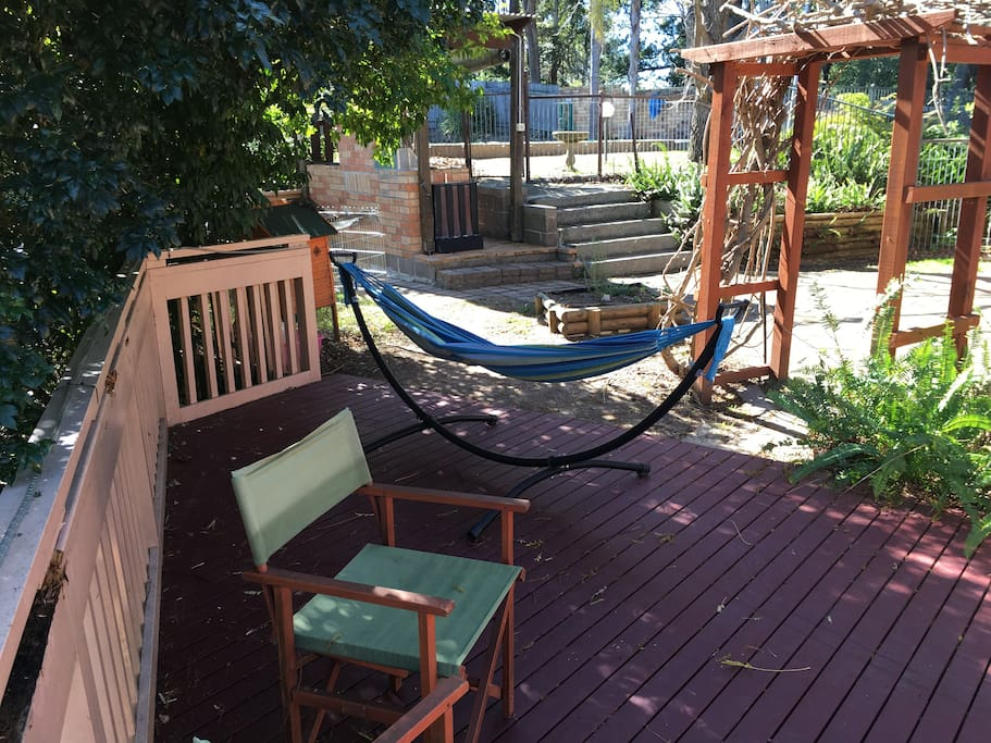 Plenty of room on the deck for chairs, tables and a hammock!