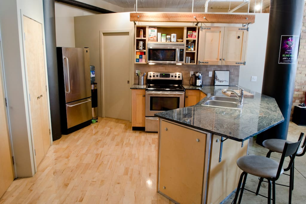 Fully stocked kitchen complete with gourmet Nespresso coffee machine and virtually anything you could need for meals in, if you're not too busy sampling the neighborhood eats!