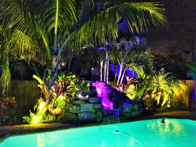 Tropical lighting in the evening