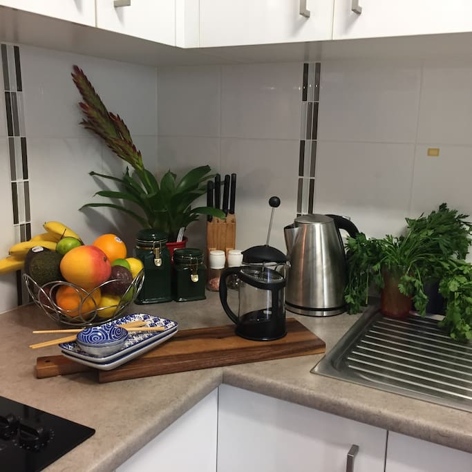 A well equipped kitchen.. cook a romantic dinner .. order in from quality restraunts or takeouts..  OR REQUEST a Personalized Retreat & Classes in Healthy Food Prep etc
