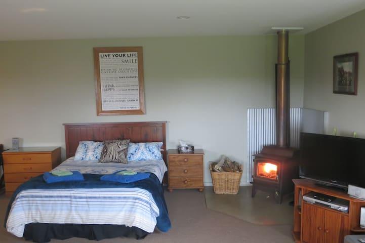 Cosy log burner fire in cabin