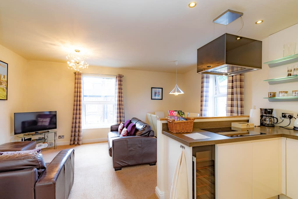 Open plan kitchen and sitting room