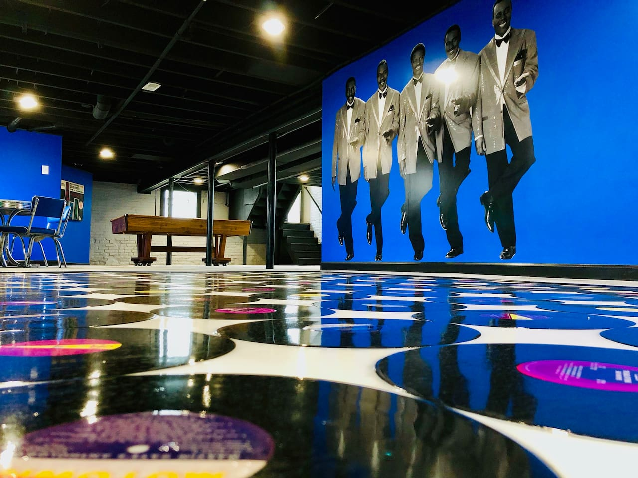 The basement dance floor is comprised of original Motown records ... dance the night away while the restored classic jukebox spins the classics!