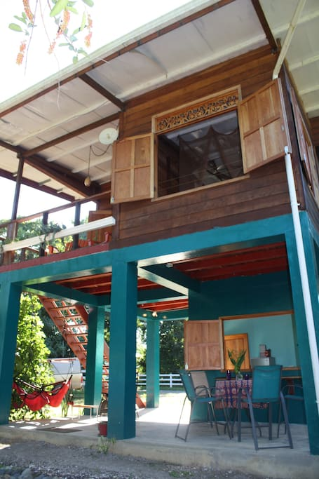 In typical Panamanian style, this home has a cool shaded outdoor living area and kitchen downstairs.