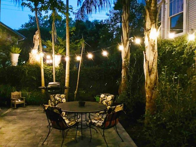 Illuminated private patio.