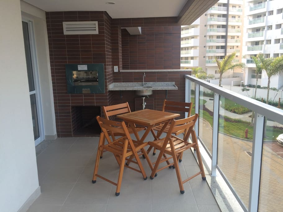 Balcony with barbecue machine