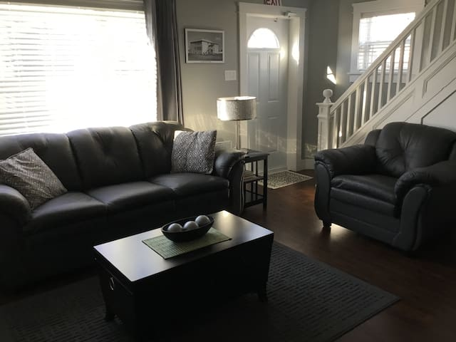 Living area with sofa bed.