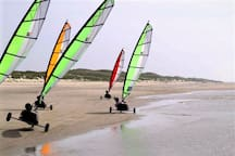 Blokarters (also called sand sailers) at the 300 meter-wide-beach of IJmuiden aan Zee. Want to join them? Book a lesson in time! We can do suggestions where and when to go