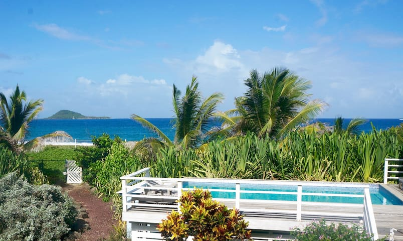 Garden path meanders past pool and directly onto the beach!