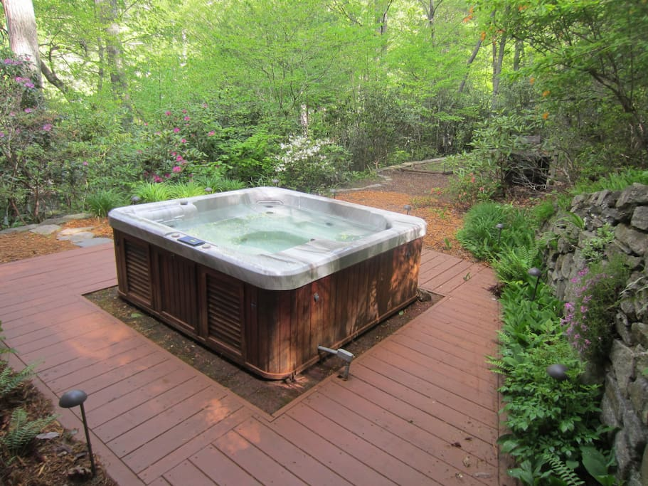 Hot tub surrounded by native plants and beautiful stone wall!