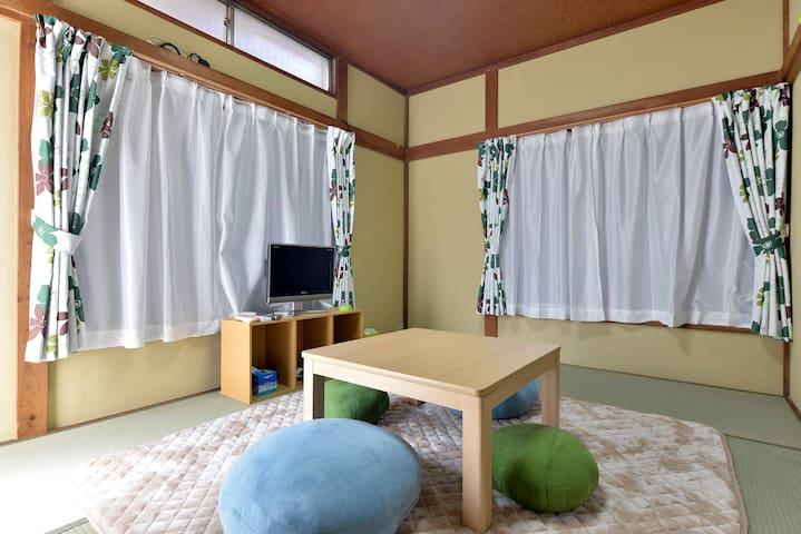 It changed to fireproof curtain. The color of the curtain is brown.