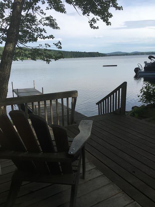 dock and patio on Pleasant Lake- wonderful swimming and fishing, we have 50ft of private frontage on the lake