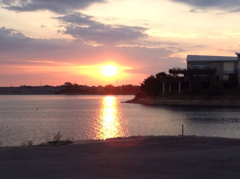 Sunrise over Grapevine lake - 1 block from the house