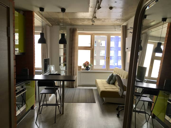 Уютная студия в стиле Скандинавский Лофт