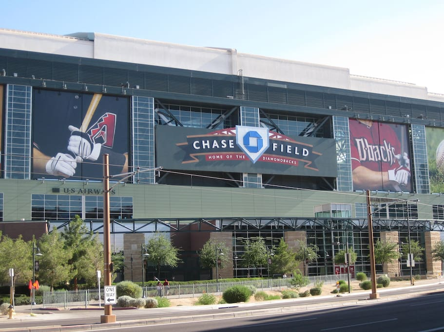Chase Field is 7-10 minutes away by light rail or car
