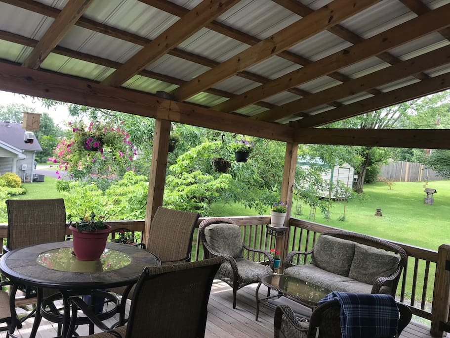 Lots of seating on a beautiful covered back deck