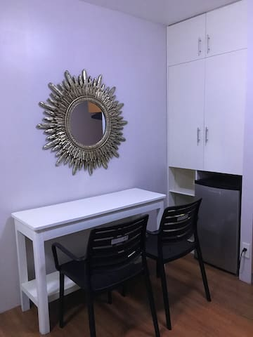Table and Chairs with Accessory Mirror