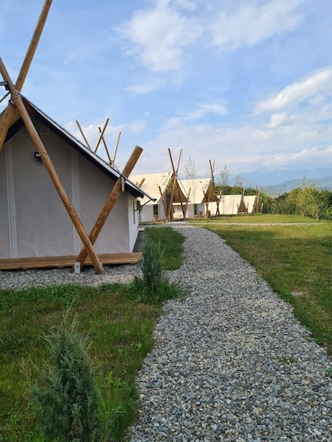Piniale Glamping Trib - cozy, warm and insulated 1 bedroom tents with private bathrooms