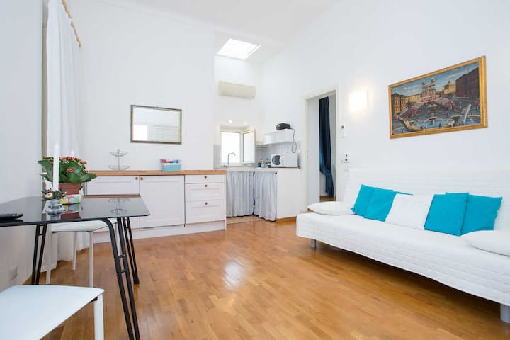 Living room and open plan kitchenette