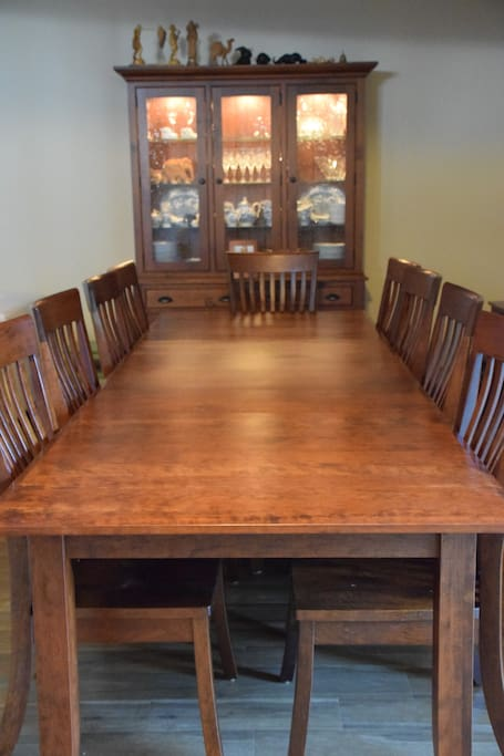 Our Amish-made solid cherry dining set has plenty of room for your whole crew!