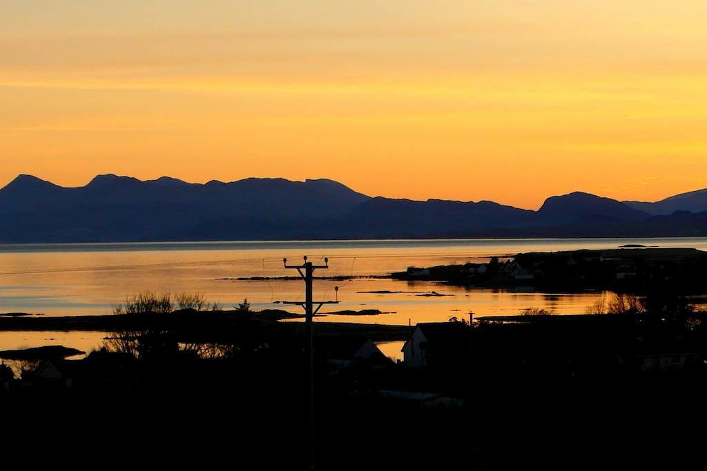Sunrise over Broadford Bay from the cottage.