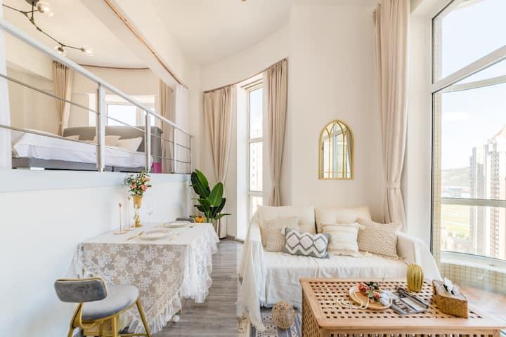 【安心住】哇!海景·星海广场·纯白摩洛哥·投影LOFT