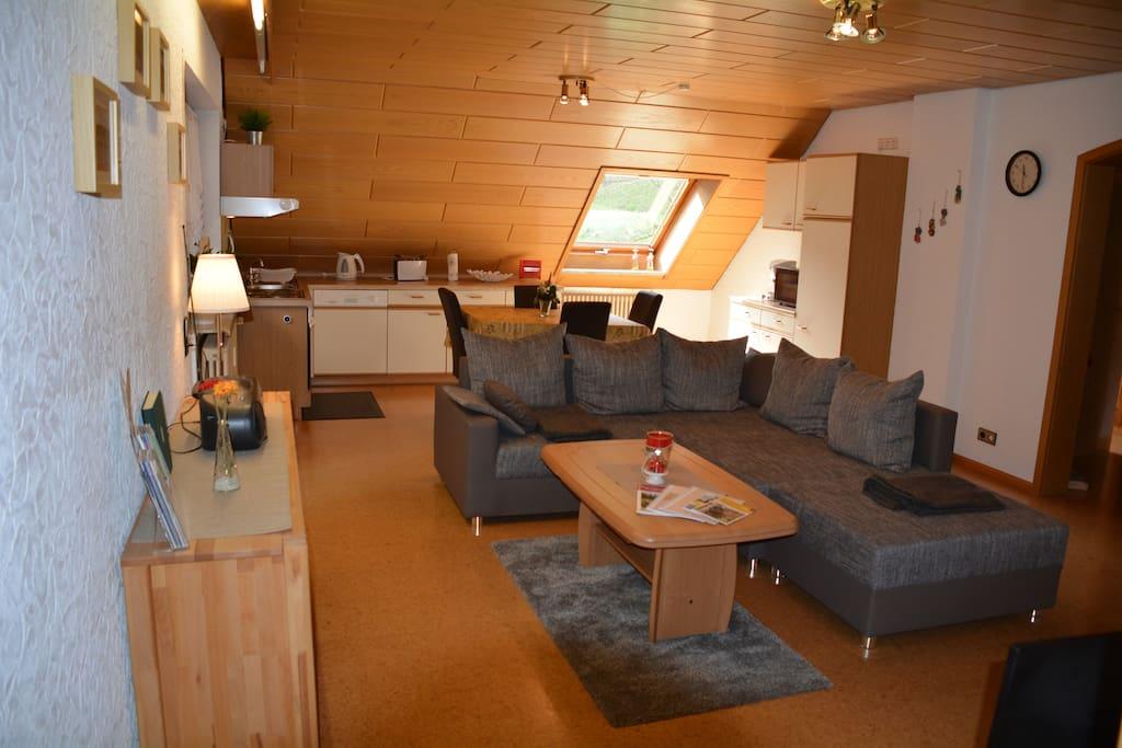 Wohnzimmer Ferienwohnung Talblick
