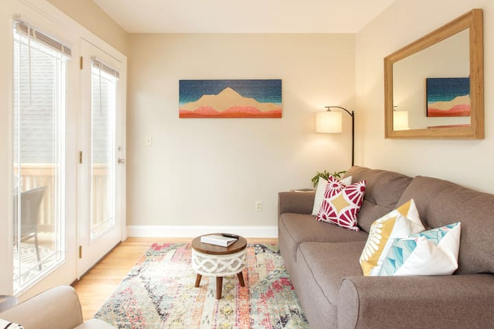 Bright living room with a full pull out couch