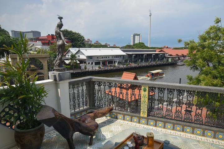 Balcony overlooking the Melaka River