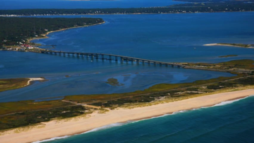 The famous Ponquogue Bridge. You will cross this to go to the beach.