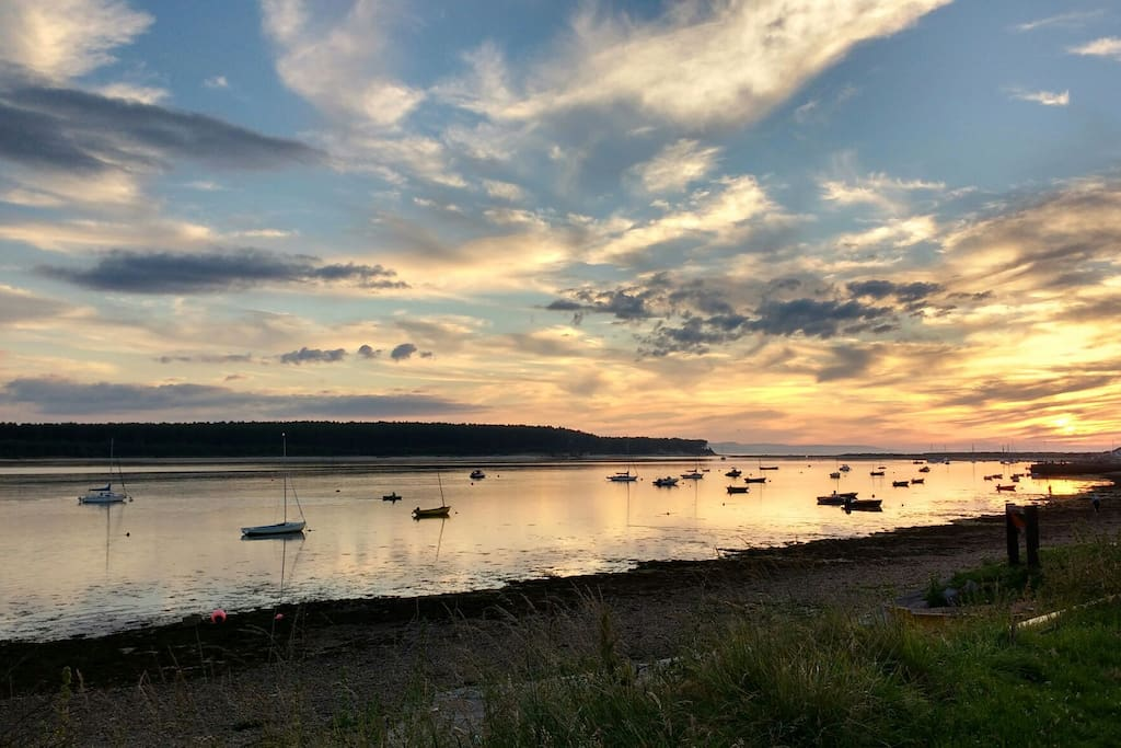 Sunset over Findhorn Bay (2 mins walk from the house)