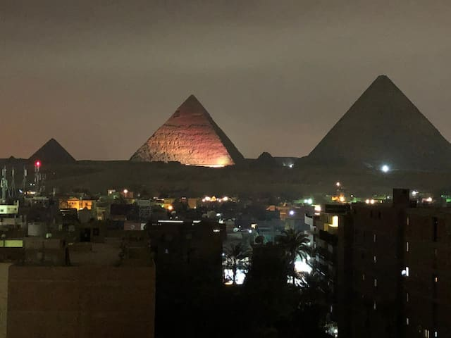 Apartment with pyramids view from sun pyramids