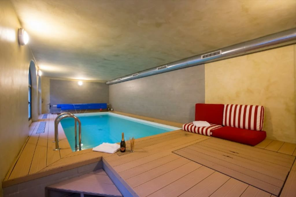 Indoor swimming pool at courtyard ground level
