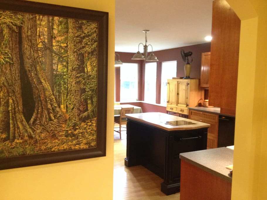 "The artwork is a print by MONK of a famous tree in Cathedral Grove (15 minute drive). The ""cave tree"" is a must see!"