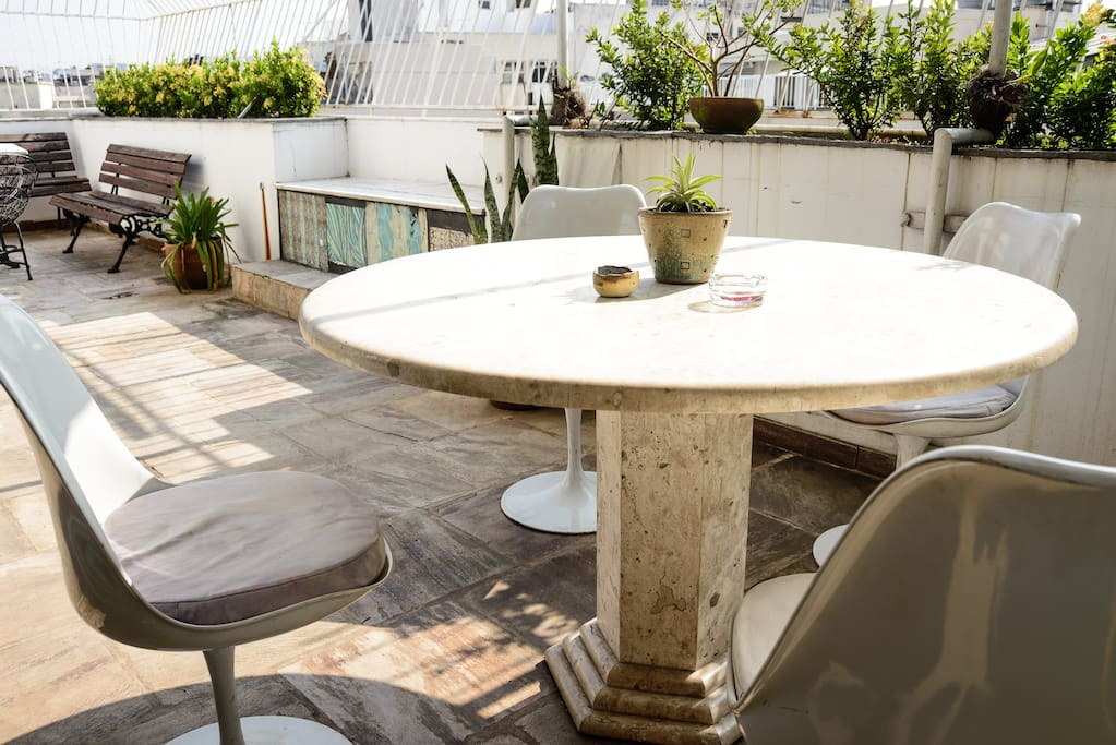 Outside area, perfect place to eat your breakfest or relax after long walks around the city