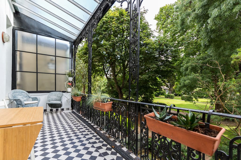 The balcony overviewing the gardens is a perfect place to relax