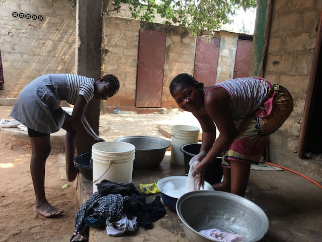 Our family is washing clothes for guests.