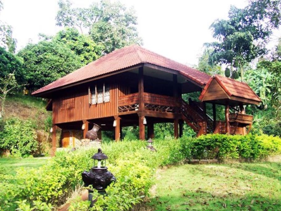 Traditional Thai Lanna Style made from teakwood with 2 bedrooms (double & twin bed), 1 living room, 2 bathrooms