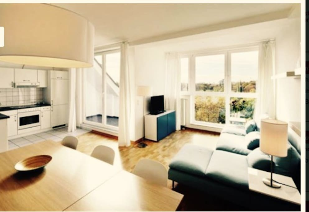 Different View of Livingroom with Alexanderplatz Tower View