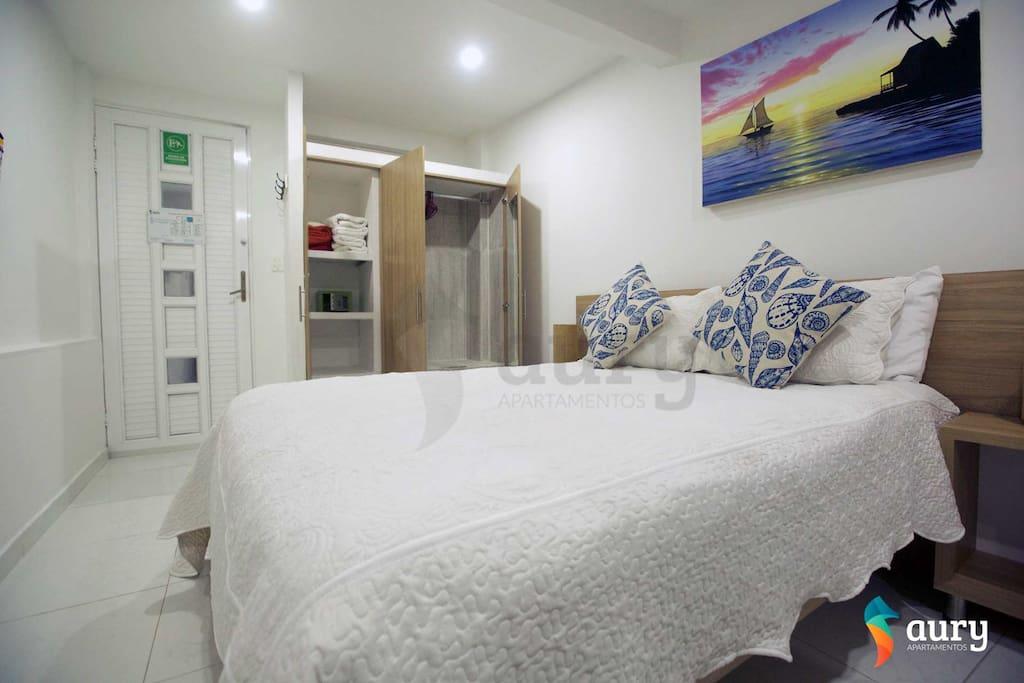 Apartamento un solo ambiente, cama doble aire acondicionado, TV con cable, closet, caja de seguridad