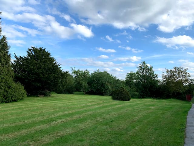 Two acres of mature gardens including ancient apple, pear and plum trees