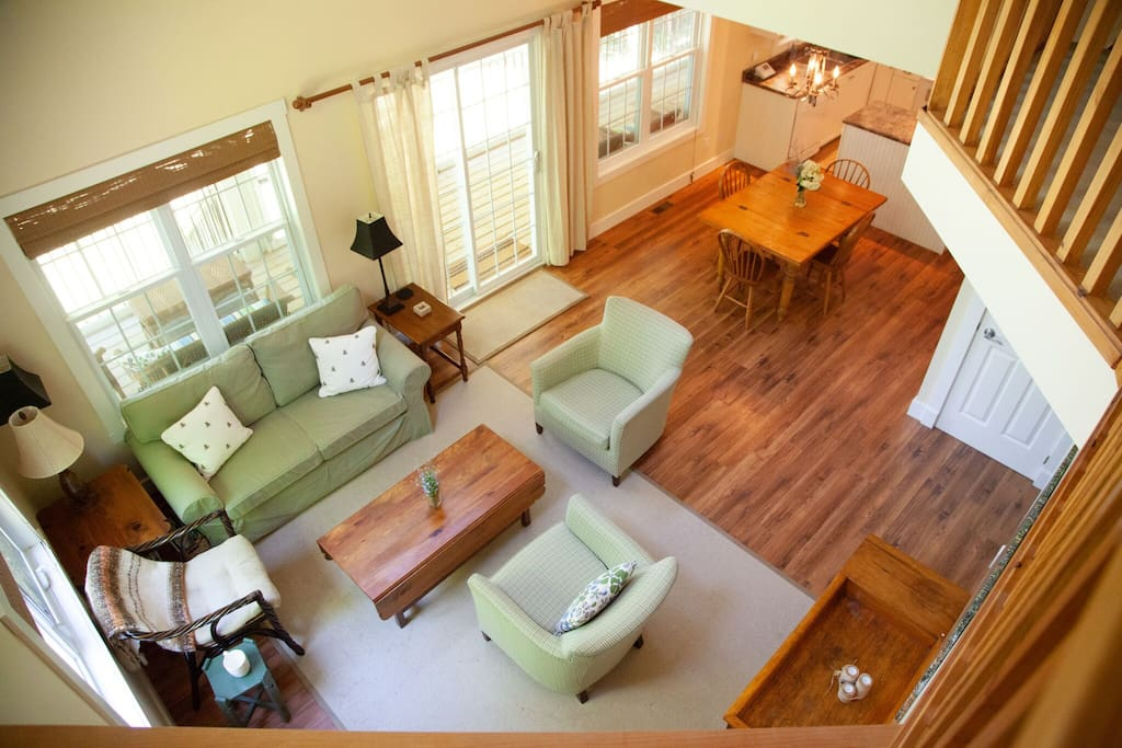 View of the living room from the loft.
