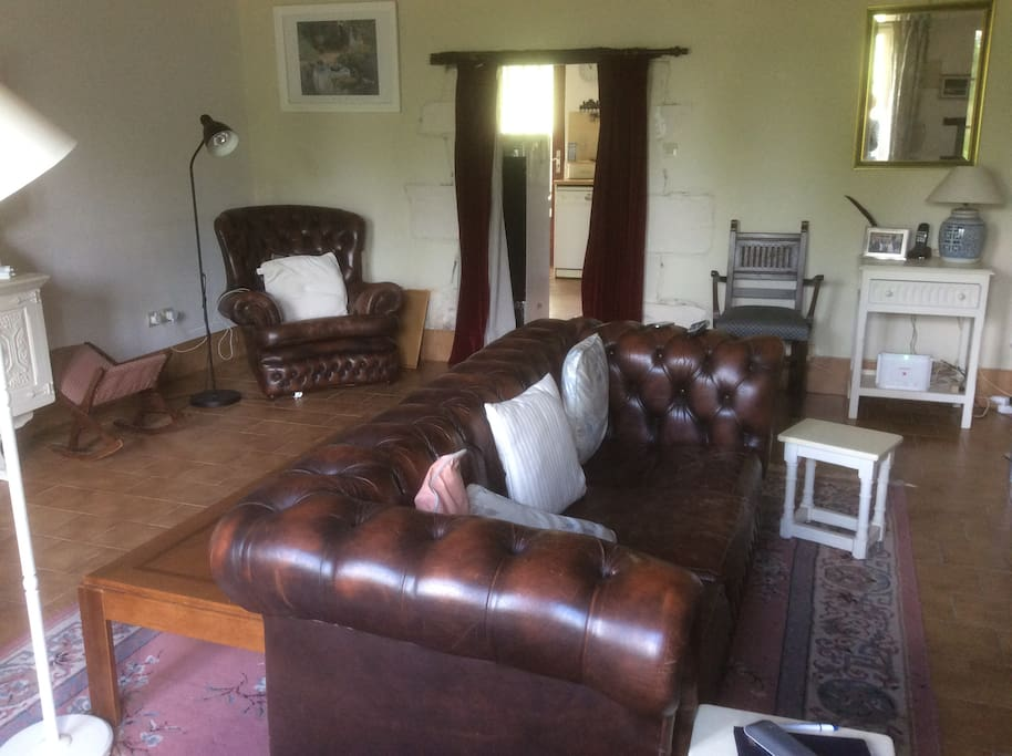Leather furniture in living room