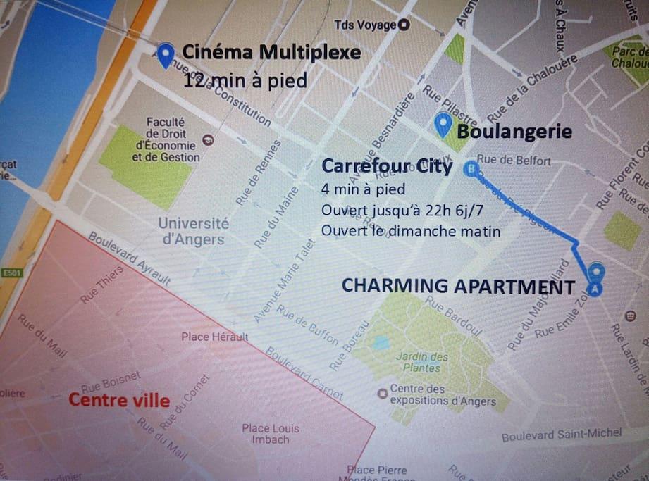 Le quatier est à la fois calme et proche du centre ville. - Parking facile dans la rue et gratuit - Superette à 350 m (horaires d'ouverture 7h00 – 22h00 du lundi au samedi et 9h00 – 13h00 le dimanche) - Boulangerie également à 350 m - Centre ville à 800 m - Centre des congrès à 700 m - Gare à 2 km (15 min en bus arrêt place Ney à 350 m) - Jardin des plantes à 350 m - Grand marché le samedi matin à 700 m