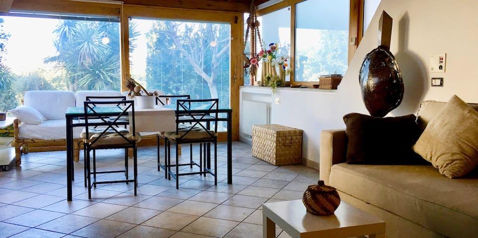 Luminosa sala con vetrate e affaccio sul giardino / Bright room with windows overlooking the garden