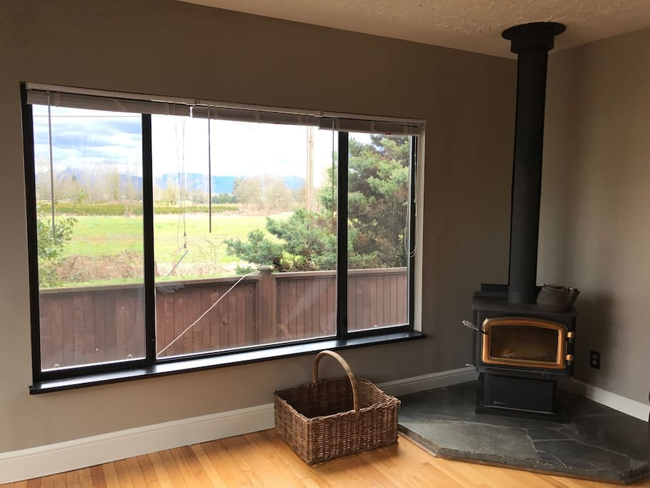 Living Room View & Wood Burning Fireplace
