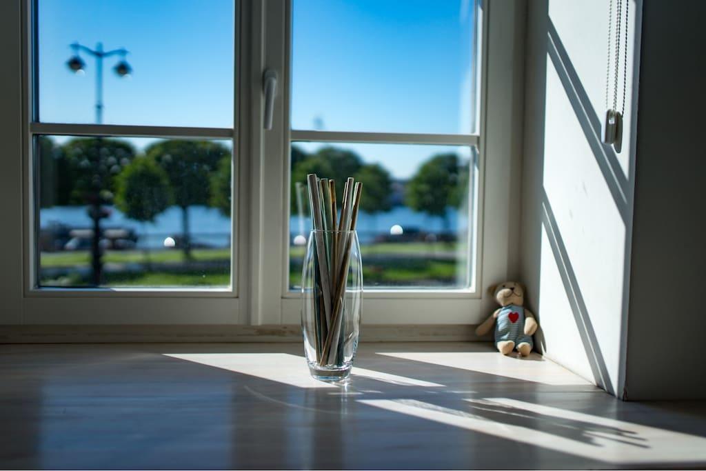 Все окна в гостиной выходят на Набережную