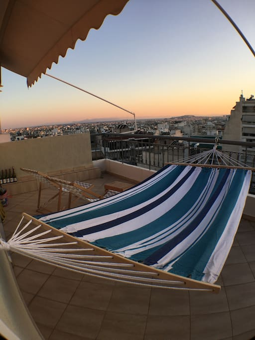 Enjoy the sunset to Saronic gulf  laying in the Hammock